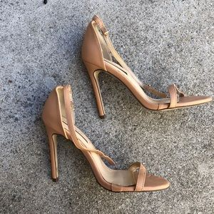 Patent Nude Strappy Heel